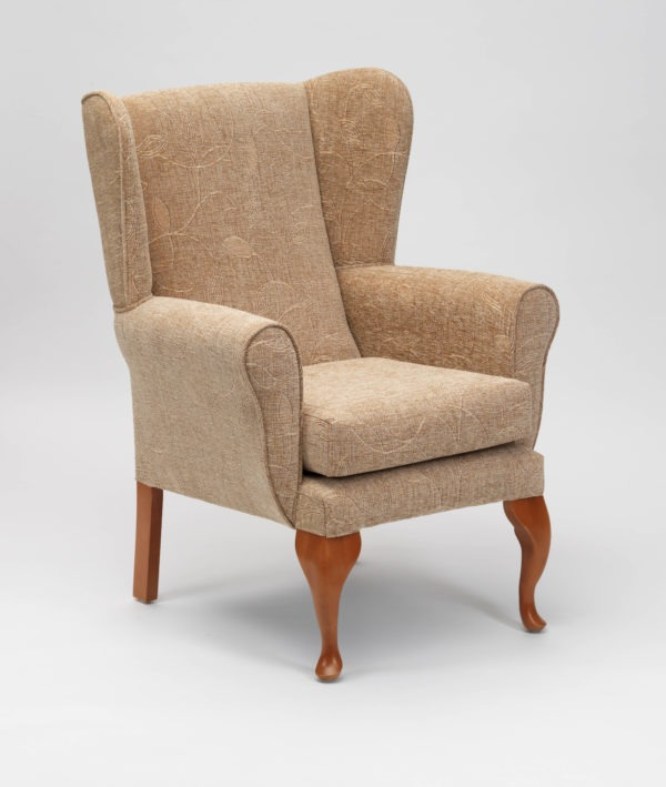 Queen Anne Fireside Chair in Biscuit