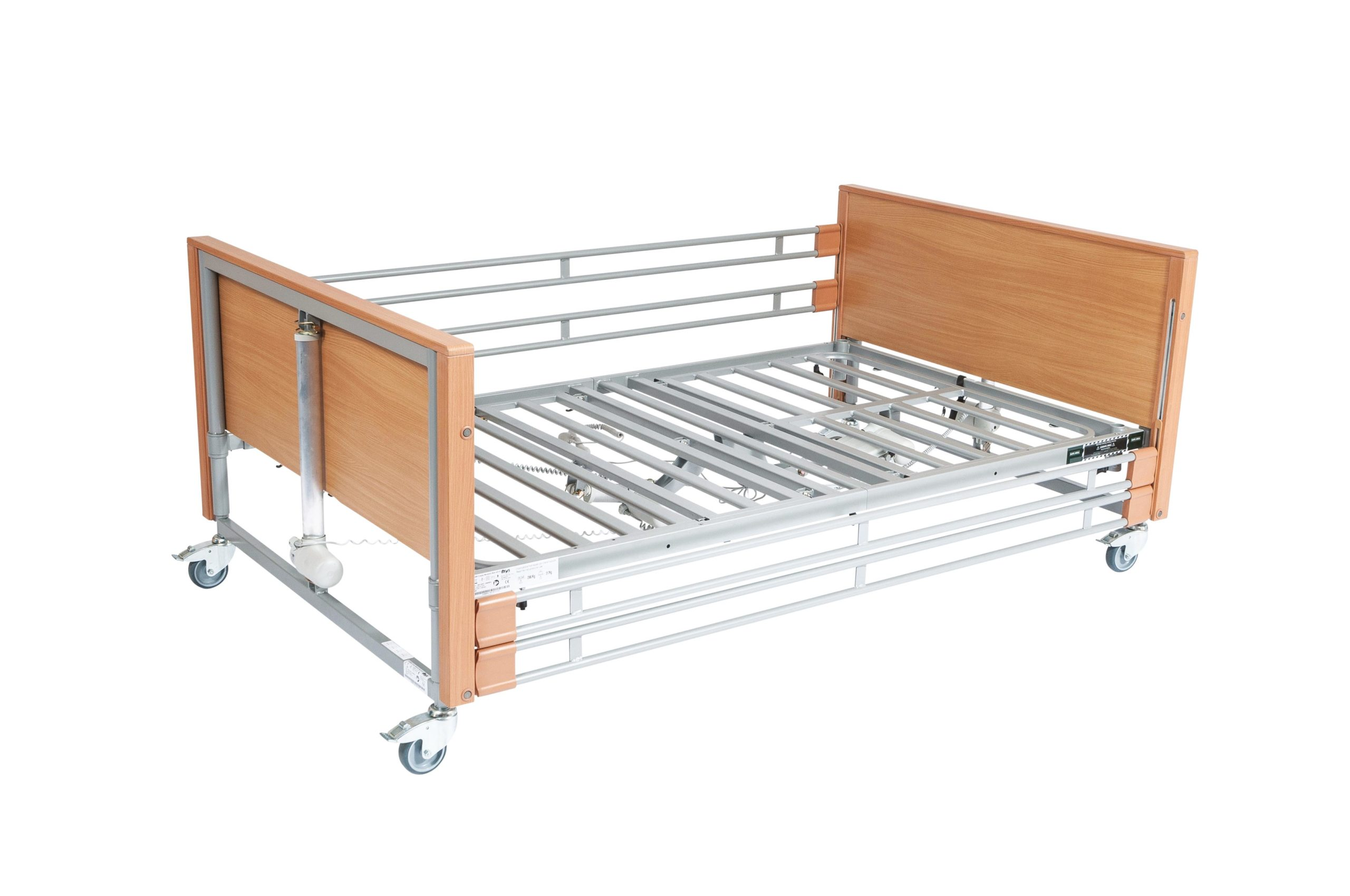 Bariatric Single Hospital Bed with wooden rails