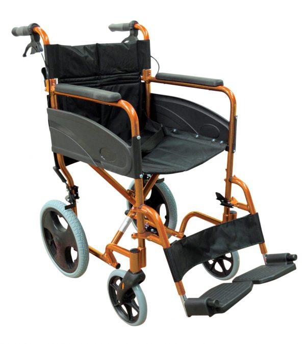 Aluminium Compact Transit Wheelchair - Orange
