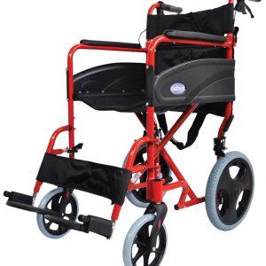 Aluminium Compact Transit Wheelchair - Red