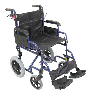 Deluxe Attendant Propelled Steel Wheelchair - Blue