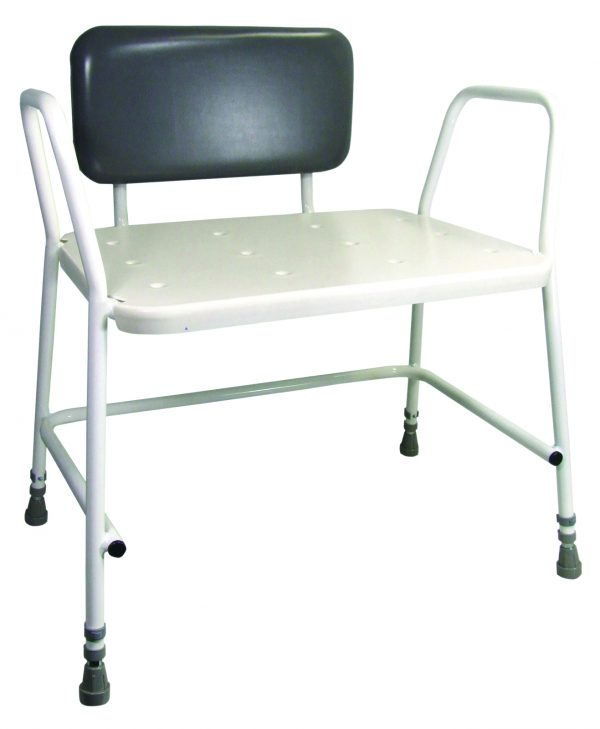 Bariatric Height Adjustable Shower Stool with Padded Back support