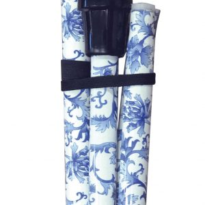 Folding Extendable Plastic Handled Walking Stick - Blue/White Floral Design