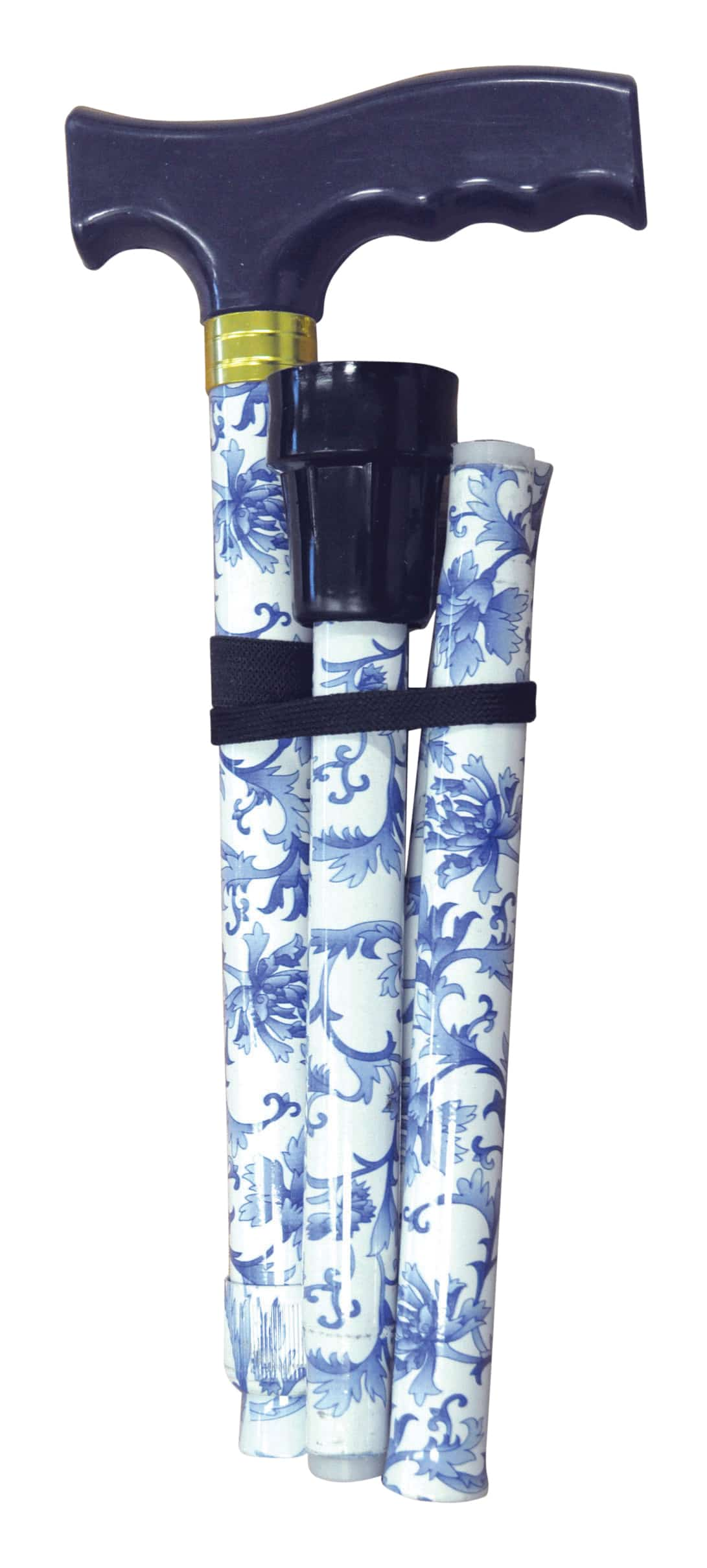 Folding Extendable Plastic Handled Walking Stick - Blue/White Floral Design