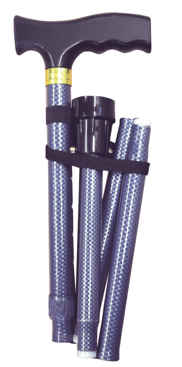 Folding Extendable Plastic Handled Walking Stick - Blue/Grey Chequered