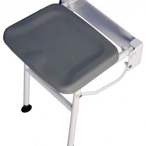 Compact Padded Shower Seat with Leg - Grey
