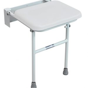 Compact Padded Shower Seat with Leg - White