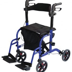 Duo Deluxe Rollator and Transit Chair - Blue