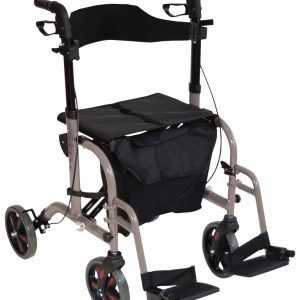 Duo Deluxe Rollator and Transit Chair - Grey