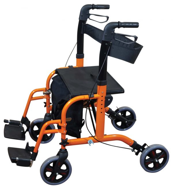 Duo Deluxe Rollator and Transit Chair - Orange