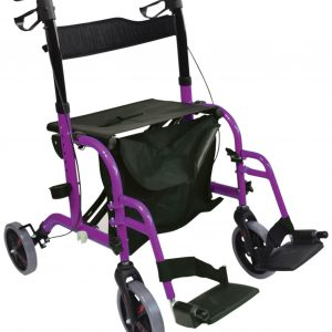 Duo Deluxe Rollator and Transit Chair - Purple