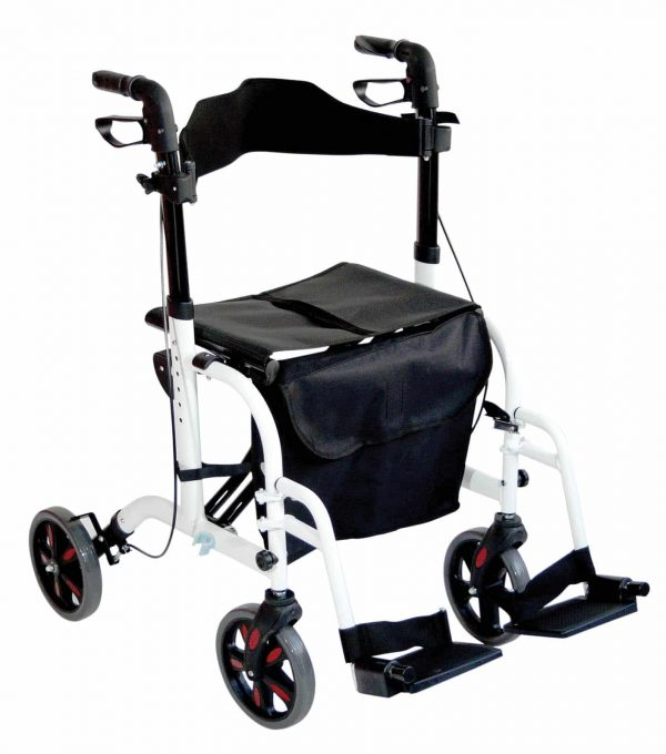 Duo Deluxe Rollator and Transit Chair - White