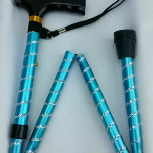 Folding Walking Stick - Blue Twist