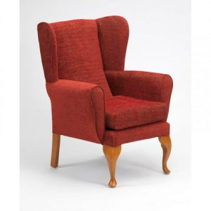 Queen Anne Fireside Chair - Crimson
