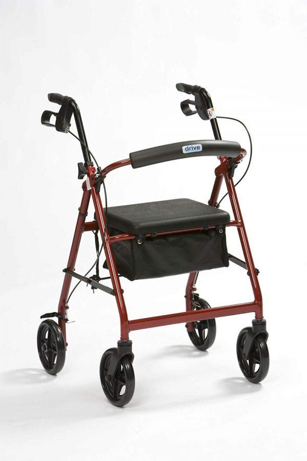 Lightweight Aluminium Rollator - Red