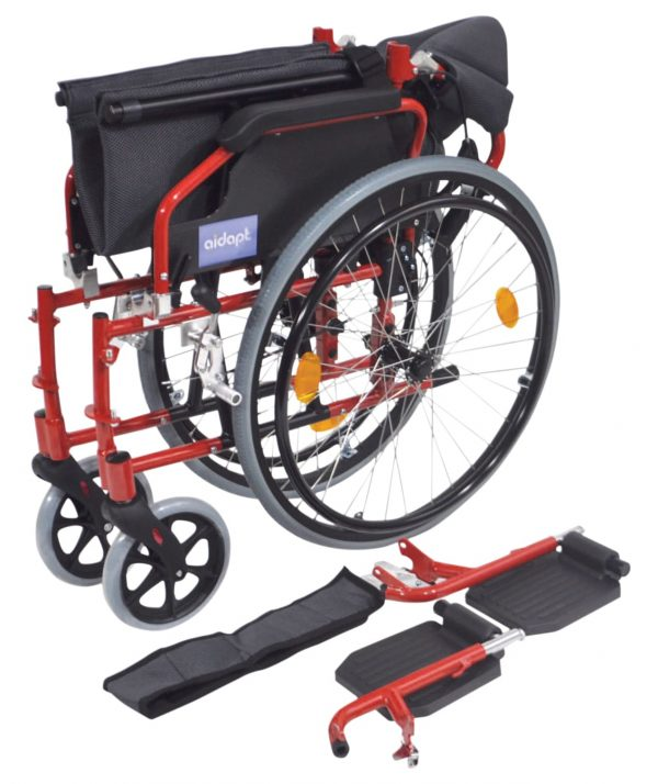 Deluxe Lightweight Self Propelled Wheelchair - Red