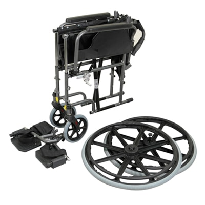 Deluxe Self Propelled Steel Wheelchair - Blue