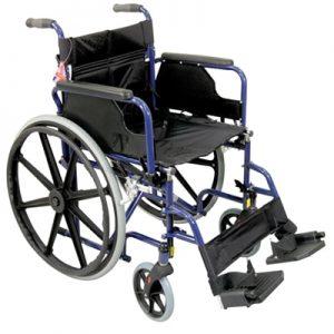 Deluxe Self Propelled Steel Wheelchair - Blue