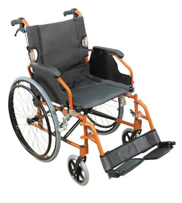 Deluxe Lightweight Self Propelled Wheelchair - Orange