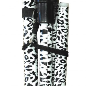 Folding Extendable Plastic Handled Walking Stick - Black/White Animal Print
