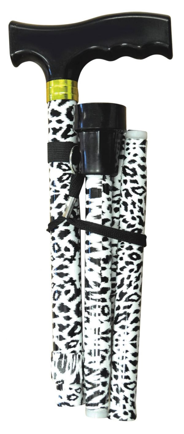 Folding Extendable Plastic Handled Walking Stick - Black/White Animal Print
