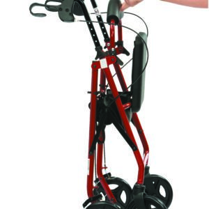 Folded Red Lightweight Aluminium Rollator