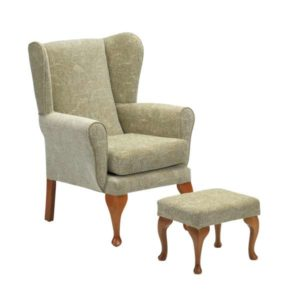 Queen Anne Chair with Stool in Sage