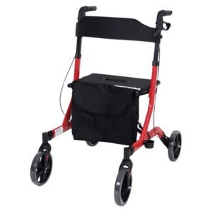 Red Ultra Deluxe Lightweight Rollator