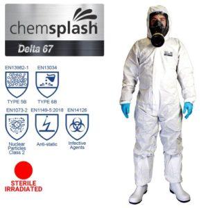 Chemsplash Delta 67 Coverall Type 5B/6B Sterile Irradiated